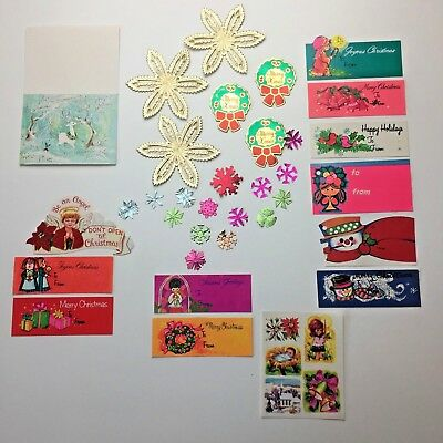 Vintage Christmas Gift Tags Foil Seals Lot Angels Wreath Holiday