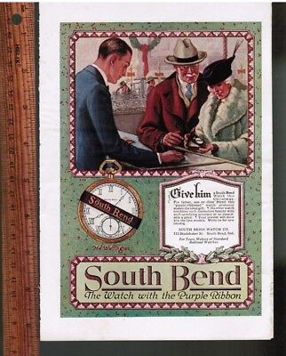 South Bend Watch Christmas Color PRINT AD ~ 1923 ~ Purple Ribbon Gift Watch