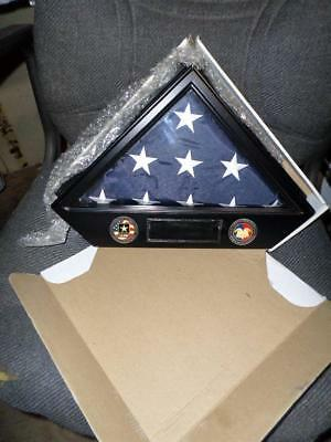 Us Military American Flag Memorial Display Case Wflag&2 Challenge Coins Preowned