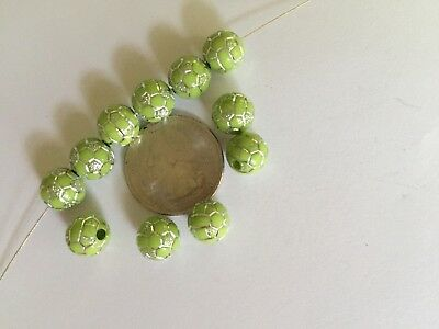 25 pcs Green w Silver Metal Enlacing 10mm Soccer Ball Acrylic Round Craft Beads