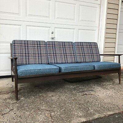 Mid Century Modern Sofa with Walnut Frame and Plaid Upholstery