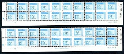 1985 ZIMBABWE POSTAGE DUE 13c Bottom 2 Rows REPRINT R3  1A and 1B D32 UNC