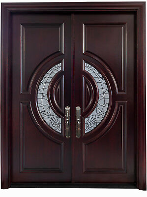 "Mahogany Double Entry Door, 6' x 8"", 2 3/8"" thick Exterior Home Front Doors"