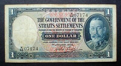 THE GOVERNMENT OF THE STRAITS SETTLEMENTS ~ KING GEORGE V ~  1 DOLLAR 1935 f.