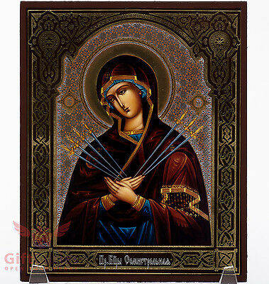 Wooden Icon Virgin Mary Seven Swords Our Lady of Sorrows Семистрельная 5.1 x 6.2