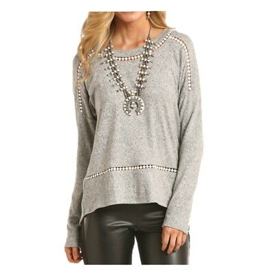 48T7476 Rock & Roll Cowgirl Ladies Grey Lace Trim Sweater  NEW