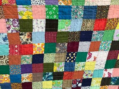 "VTG Quilt Handmade Bright Squares Blocks Cotton Feedsack Strong VGUC 72"" x 90"""