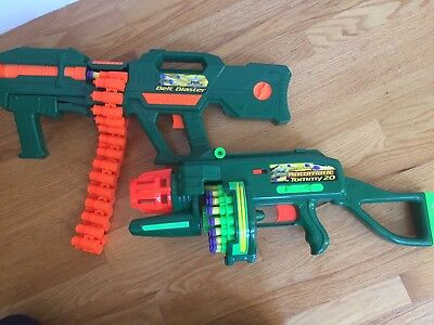Buzz Bee Toys Air Blasters Lot of 2 Motorized Automatic Tommy 20 & Belt Blaster