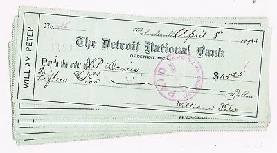 OLD LOT OF BANK CHECKS - Michigan, 1892 - 1895. 20 Checks