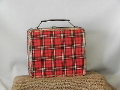 1950's Aladdin Lunch Box Vintage Metal Red Plaid Safety First (No Thermos)