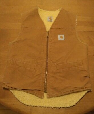 Vintage Carhartt Vest Mens Size Small Sherpa Lined Brown Canvas Chore