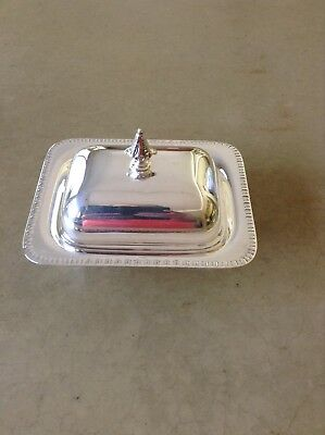 "Sheffield Silverplate EPC 340 Butter Dish With Glass Liner Beaded Edge 6"" Nice"