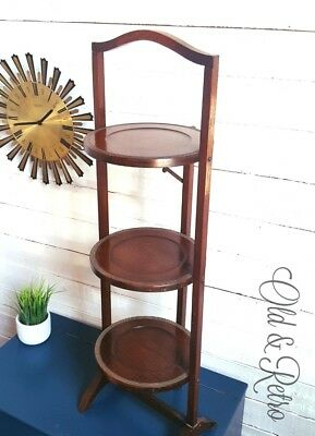 Vintage wooden Oak Folding 3 Tiered Cake Stand plant stand mid centuty