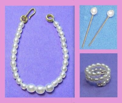 Dreamz WHITE GRADUATED PEARL NECKLACE SET Doll Jewelry VINTAGE REPRO for Barbie