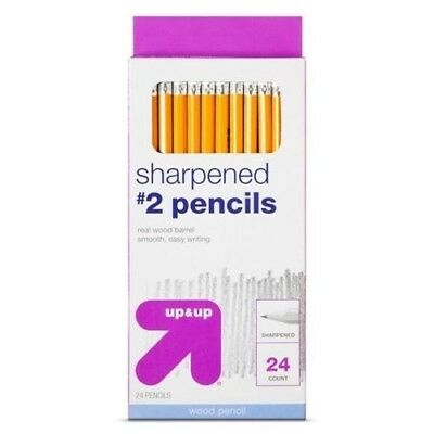NEW 24 up & up Real Wood Barrel Sharpened #2 Pencils (Box of 24) Fast Shipping!
