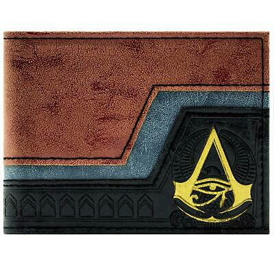 New Official Assassins Creed Origins Embossed Symbol Brown Id Card Bifold Wallet