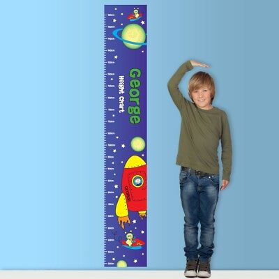 Personalised Space Height Chart for Children Boys or Girls Any Name Gift Idea