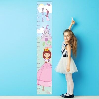 Personalised Fairy Tale Princess Height Chart for Children Girls Any Name