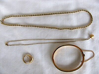 4 Pieces Of12K Gold Filled Jewelry Includes 2 Chains, Bracelet & Ring