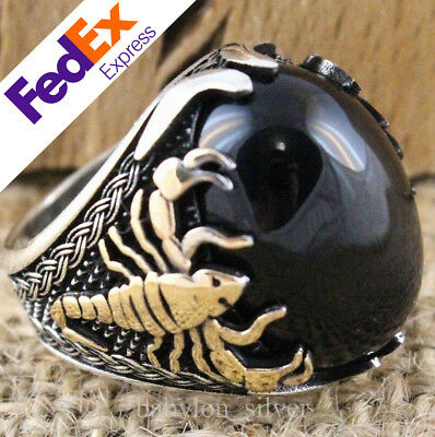 925 Sterling Silver Turkish Handmade Scorpion Onyx Men's Luxury Ring All Size US