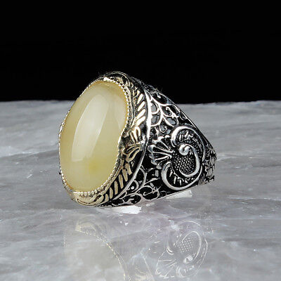 Handmade 925 SILVER Turkish ring Smoky stone for Men all sizes jewelry RRP £40