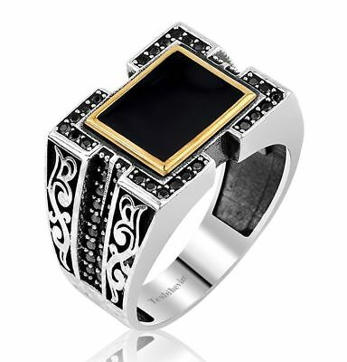 Handmade 925 SILVER Turkish rings Onyx stone for all sizes jewelry RRP £30