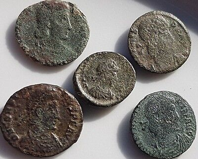 Lot Of 5 Ancient Roman Bronze Coins Constantius