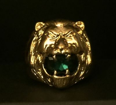 Elvis Presley Gold Lion Head Concert Ring Green Austrian Crystal TCB Open Jaws