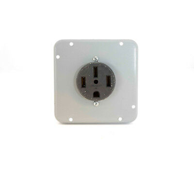 Leviton 50A 125/250V Flush Mount Straight Blade14-50 Receptacle with Wall Plate