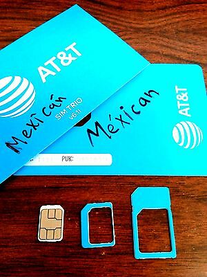 AT&T Mexico  Sim card Prepaid Go works in USA,Mex, Free shipping
