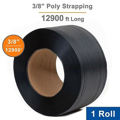 "1 Roll Poly Strapping 3/8"" x 12900' Machine Grade, 8x8 Core, Black"