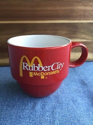 Vintage Red McDonalds Coffee Mug Akron Ohio Rubber City Yellow Arches