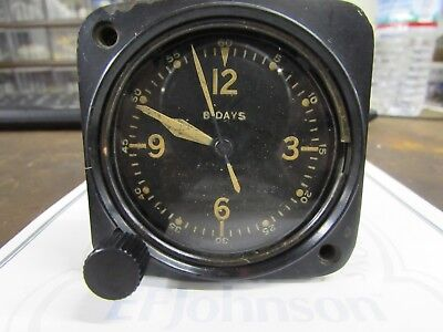 Vintage Longines Wittnauer 8 Day A-9 Aircraft Clock US Army Pre WW2