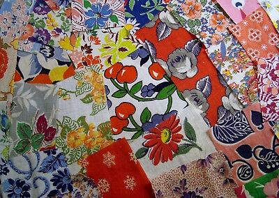 200 Piece Vintage Feedsack Fabric Scrap Packet Novelty Red Cherries