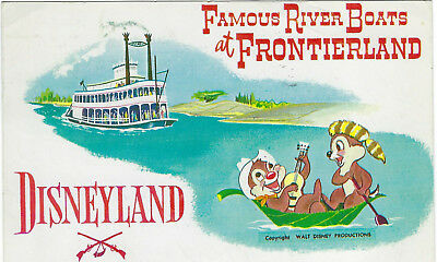 Rare Disneyland Postcard Chip 'n Dale Famous River Boats Frontierland Art Corner
