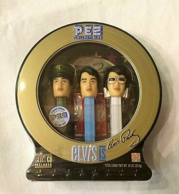 ELVIS PRESLEY PEZ  Limited Edition Set of 3 In Display Tin w/CD Included Sealed