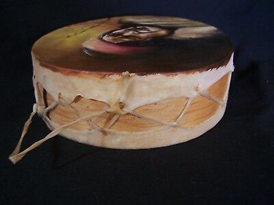 Vintage Native American Sioux Powwow Drum Wood Hide Hand Painted Signed Lobatos