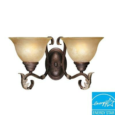 World Imports Olympus Tradition Collection 2-Light Crackled Bronze Wall Sconce