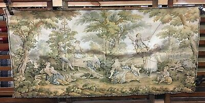 Vintage European Tapestry Wall Hanging  Outdoor Pastoral