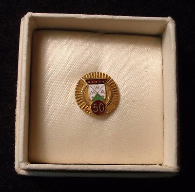 MWA Modern Woodmen of America 50 Year Lapel Pin. Gold toned. Enamel Inlaid.