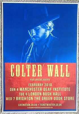 COLTER WALL 2018 Gig Poster UK Concert London Manchester Brighton United Kingdom