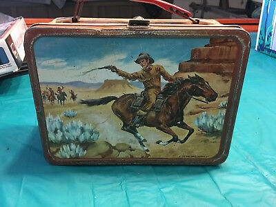 METAL LUNCH BOX 1963 Western Stagecoach Old West Cowboy   King-Seeley Thermos Co