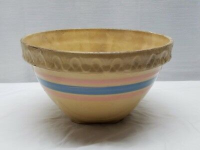 Vintage Antique Art Pottery Yellow Ware Mixing Bowl Pink Blue Stripe Stoneware