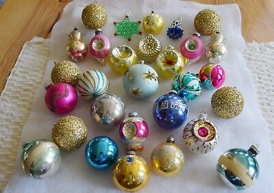 Lot Vintage Christmas Ornaments Shiny Brite Indents Blown Mercury Glass Glitter