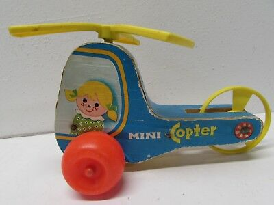 Vintage 1970 FISHER PRICE Pull Toy--MINI COPTER