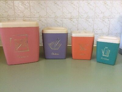 Vintage Nally Ware ,  Nally Kitchen Canisters Harlequin Set , 60s Retro