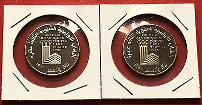 Lebanon-2 Rare Coins Of 1 Livre(Cu-Ni) Proof Coin,winter Olympic 1980.