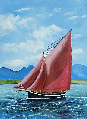 Original  Paintings,Irish Art, Galway Hooker, by Irish Artist,  Gerry Dillon.