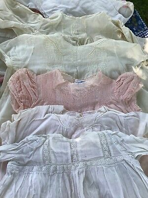 17 VTG Baby Christening Dress Chenille Pintuck Ruffle Flaws 1920s-40s Mix Lot