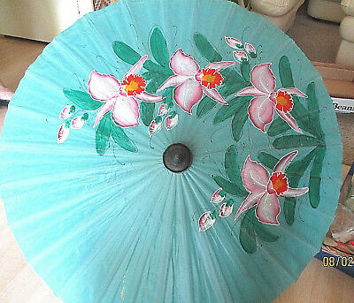 Vintage, Japanese Oiled Paper Parasol or Umbrella. Hand-painted. Bright Flowers